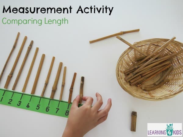 Measurement activity using a number line - comparing lengths