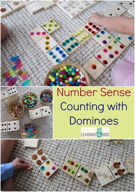 Number Sense - Counting with Dominoes.  I love these large wooden domino blocks!