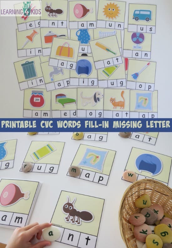 Printable CVC Word CArds - fill in the missing letter - 26 cards part of a cvc word bundle activity pack