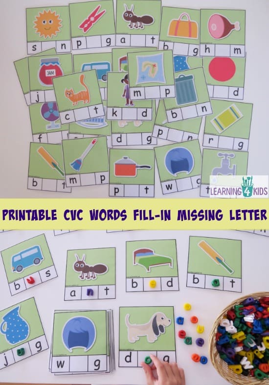 Printable CVC Words 26 cards - fill-in the missing medial sound. part of cvc printable bundle activity pack