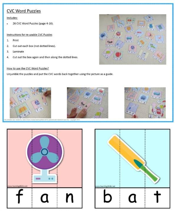 Printable CVC Words Puzzles - Set 26