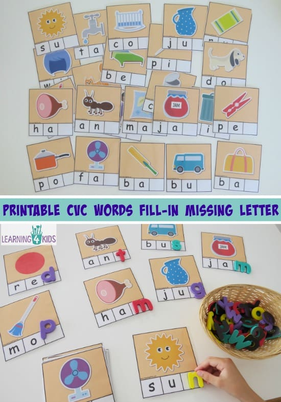 Printable CVC Words - fill in the missing final sounds. 26 cards part of a CVC printable activity pack