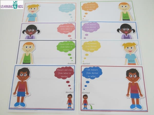 Printable Measuremen Activity Mats shortest to tallest - available in two fonts