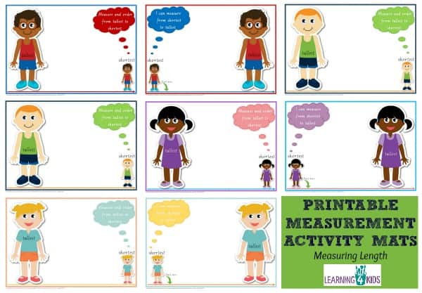 Printable Measurement Activity Mats - great for maths centre activity - shortest to tallest - available in 2 fonts