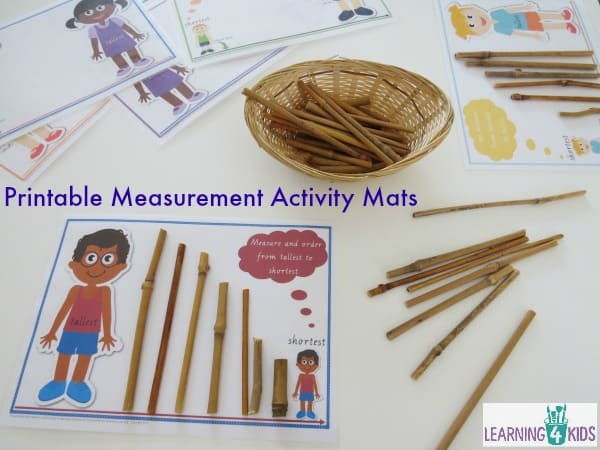 Printable Measurement Activity Mats - measuring length tallest to shortest