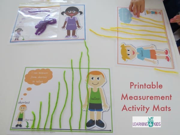 Printable Measurement Activity Mats - using string, play dough, sticks and other items to compare and order length