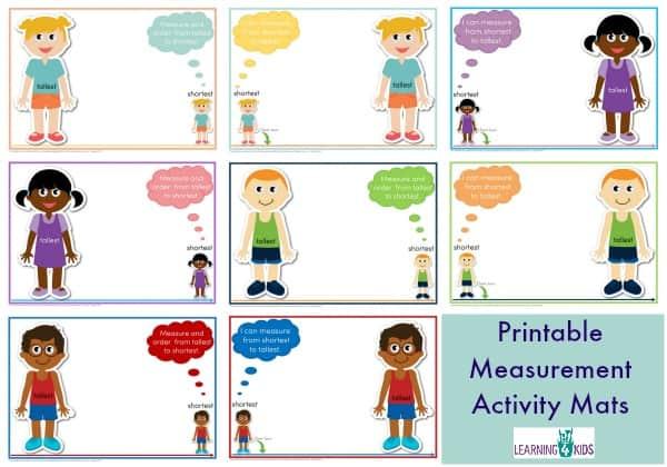 Printable Measurement Activity Mats Standard Print