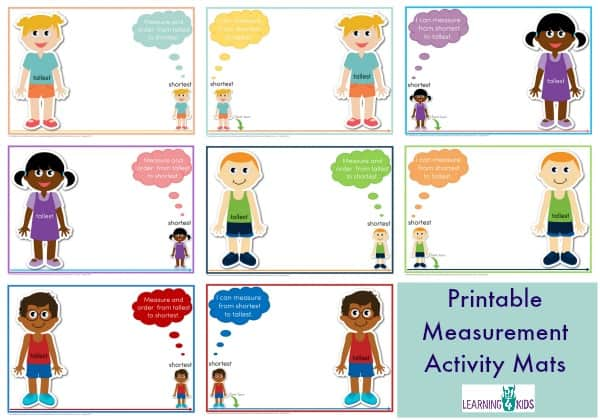 Printable Measurement Mats available in 2 fonts - measuring length shortest to tallest - available in 2 fonts