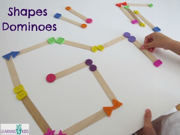 Shape Dominoes - homemade classroom resource for learning about shapes.