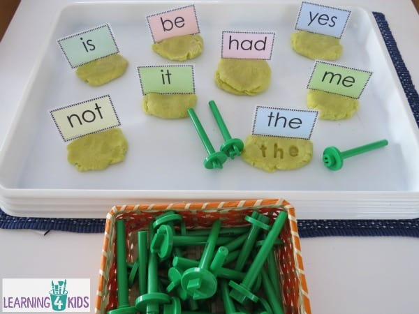 Sights words and play dough