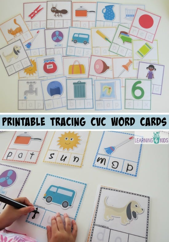 printable tracing cvc word cards - part of a cvc activity bundle pack. 26 cards included.