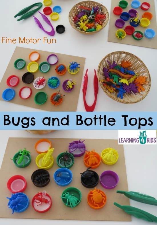 Bugs and Bottle Tops - simple, fun fine motor activity for kids.