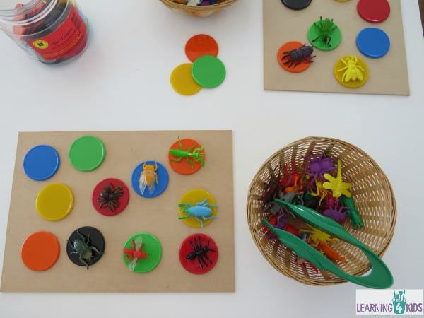 Fine motor activity moving bugs with tweezers onto a token or counter