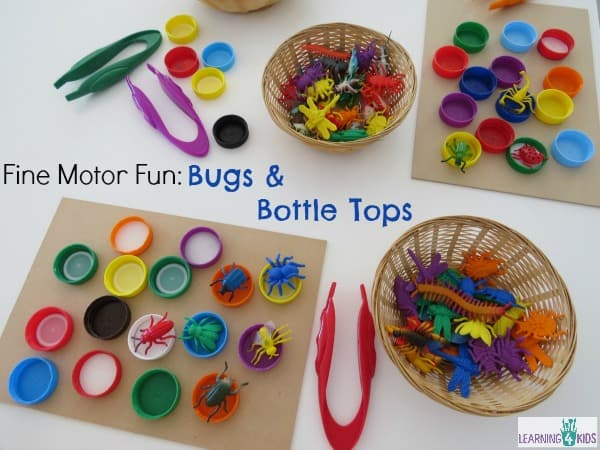 Fine motor science centre activity - bugs and bottle tops
