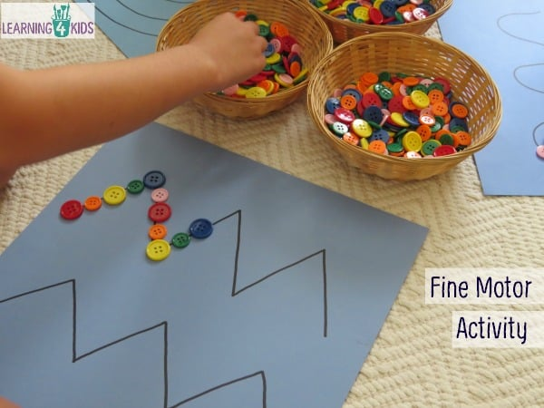 Fine motor work station or learning centre activity for kids