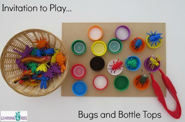 Invitation to play with bugs and bottle tops - fine motor exploration activity