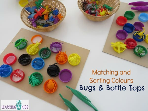 Matching and sorting colours with bugs and bottle tops - fine motor activity