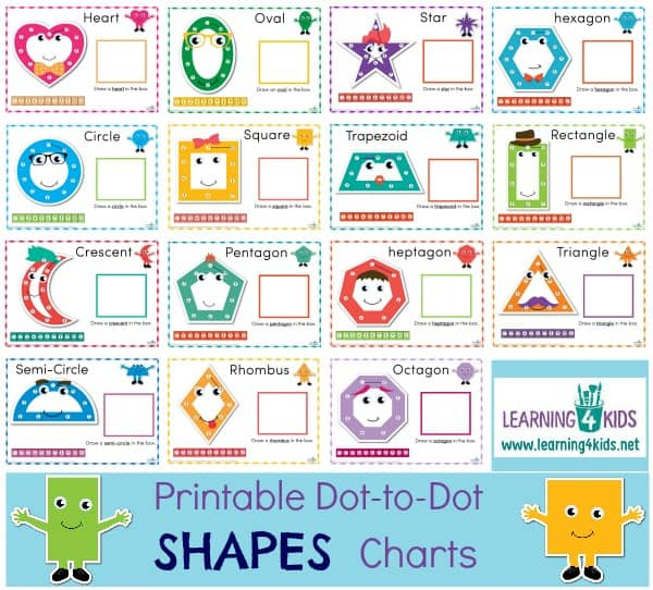 Printable Dot-to-dot Shapes Charts 15 shapes included.