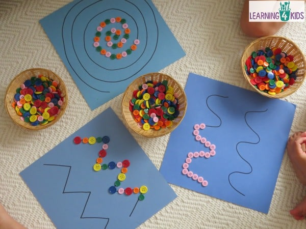 Super simple fine motor activity using buttons (or pebbles) on pattern lines