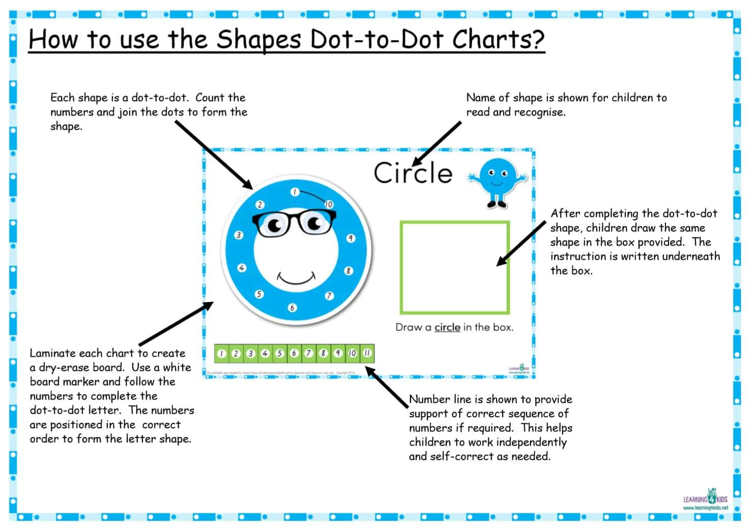 how to use the shapes dot-to-dot charts