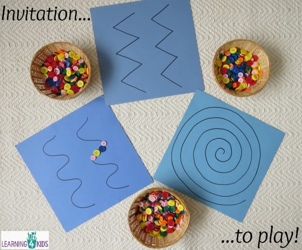 invitation to play with buttons and patterned lines for fine motor development