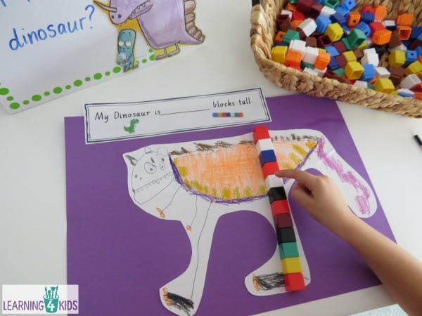 How tall is your dinosaur  Measurement activity inspired by the book The Really Really Big Dinosaur by Richard Byrne