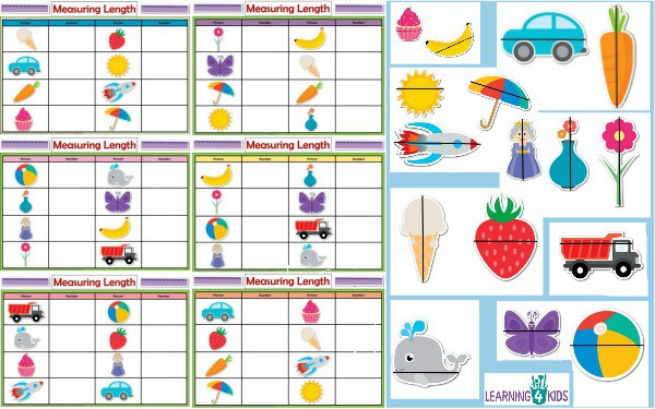 Printable Measuring Length Activity Mats - Measure (indirect) and Record