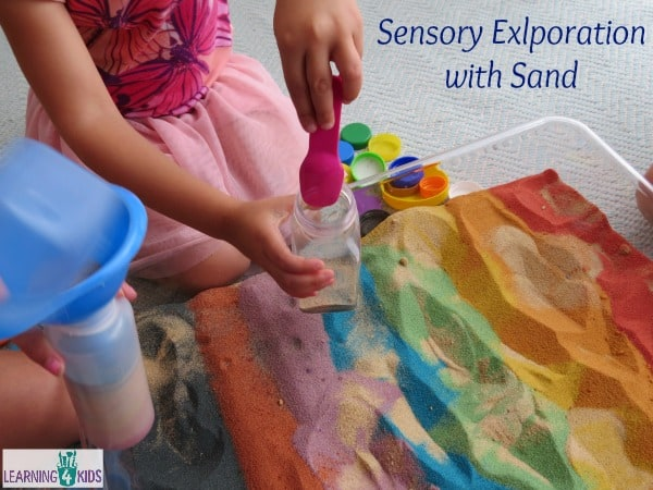 Sensory Exploration with rainbow sand - the ideas are endless