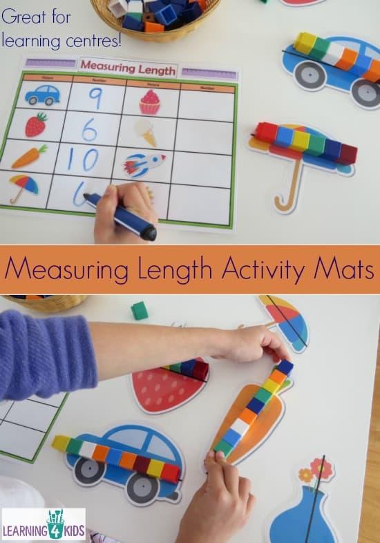 Printable Measuring Length Activity Mats.  Indirect measurement.
