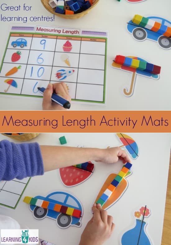 Printable Measuring Length Activity Mats.  Indirect measurement.