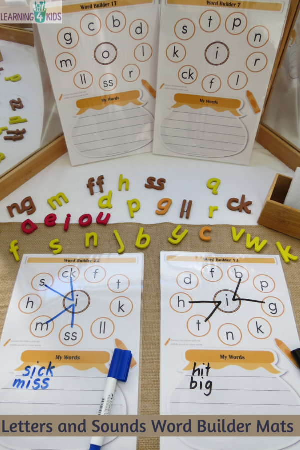 Printable Letters and Sounds Word Builder Bundle Set Phase 2