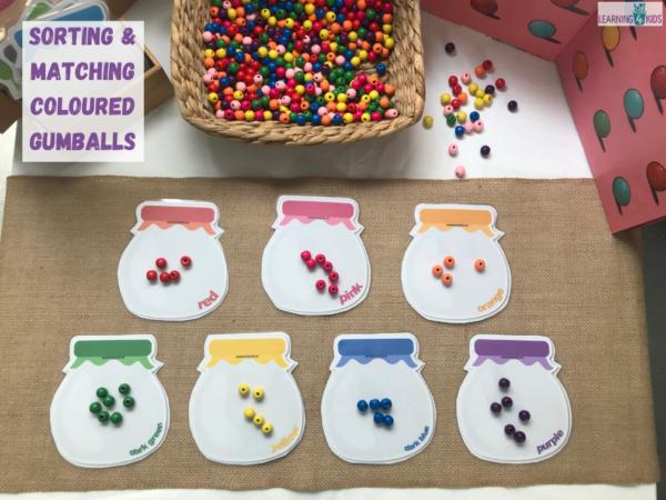 Colour matching activities - printable colour matching jars - sorting gumballs