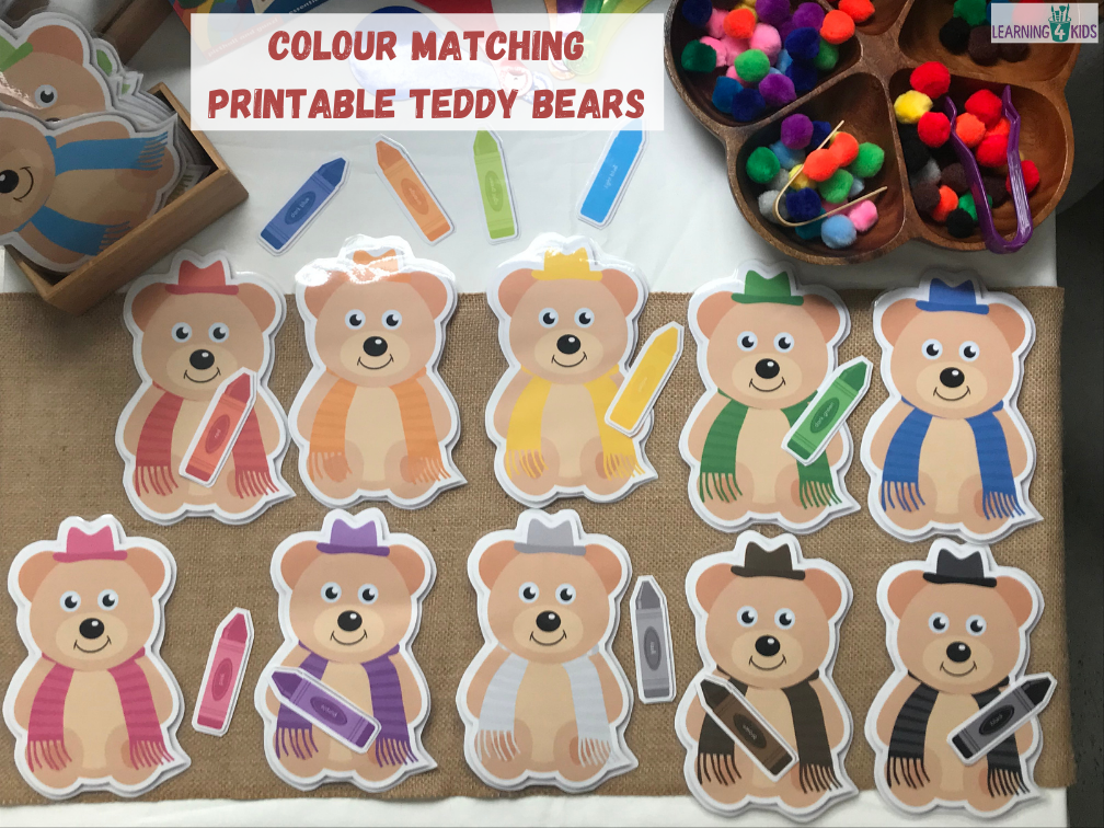 Colour matching activities - printable colour matching teddy bears