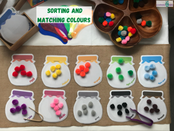Colour matching and sorting fine motor activity - printable coloured jars
