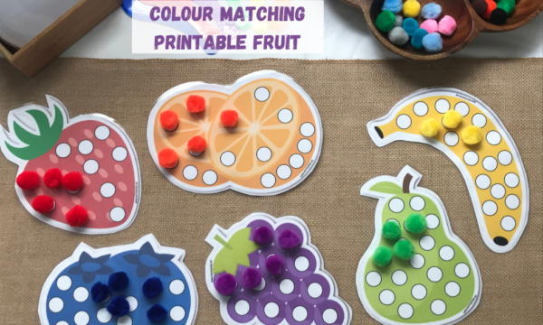 Colour matching and sorting printable fruit for matching activities
