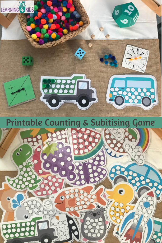 Printable Counting and Subitising Activity Game Mats