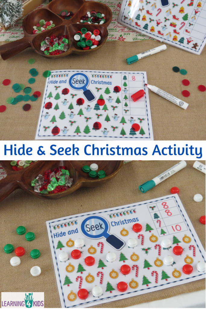Printable Christmas Hide and Seek Activity Mats