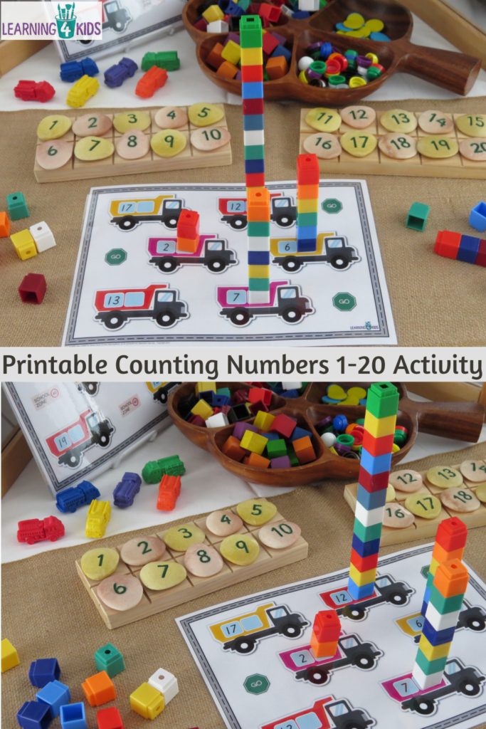 Printable Counting Numbers 1-20 Activity Mats Truck Theme