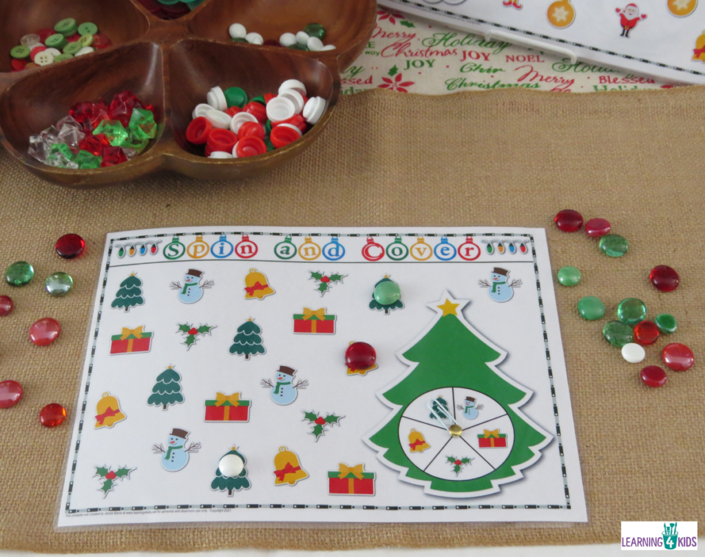 Spin and Cover Christmas Activity Mats